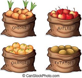 sække, i, frugter, og, mængder