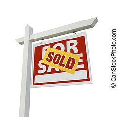 sælg, hjem, til salg, egentlig estate underskriv, isoleret