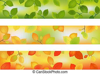 sæson, bannere, baggrunde, tre, eller