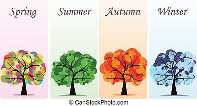 sæsonprægede, abstrakt, vektor, træer