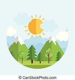 sæsonprægede, vejr landskab, ikon