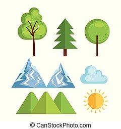 sæsonprægede, vejr, sæt, iconerne