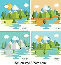 sæsonprægede, vejr, sæt, landskaber