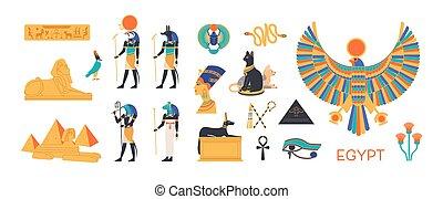 sæt, ægypten, symboler, ancient, hellige, mytologiske, -, panteon, hellige, sculpture., lejlighed, farverig, ægyptisk, dyr, guder, hieroglyffer, cartoon, skabningerne, illustration., guddomme, vektor, arkitektur