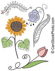 sæt, abstrakt, håndarbejde, blomster