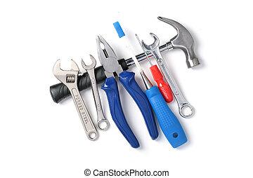 sæt af værktøjer, isoleret, hen, white.