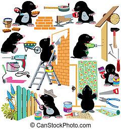 sæt, arbejder, renovation til hjem