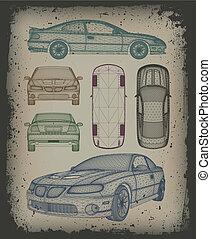 sæt, automobilen, er, designed., vektor