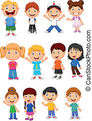 sæt, børn, samling, cartoon