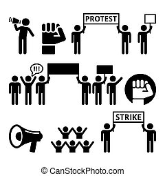 sæt, beføjelser, folk, kampen, deres, demonstrer, iconerne, protest, strejke, eller