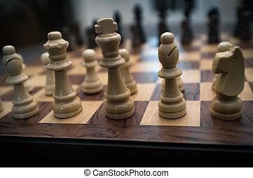 sæt, begyndelse, chess, oppe