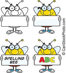 sæt, bi, bogstaverne, samling, 4