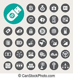 sæt, bitcoin, iconerne
