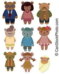 sæt, bjørn, cartoon, familie, ikon