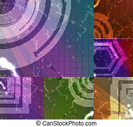 sæt, by, abstrakt, vektor, baggrund, teknologi,...