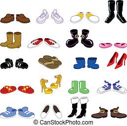 sæt, cartoon, sko