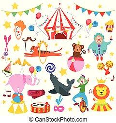 sæt, cirkus, dyr