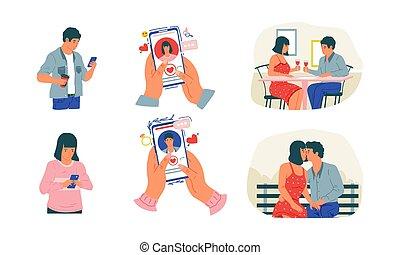 sæt, communication., cartoon, ansøgning, tjeneste, møde, vektor, acquaintance., par, forbindelsen, app., mand, ambulant, kvinde kigge, cute, development., stages, online dating