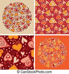 sæt, constitutions, mønster, abstrakt, seamless, illustration, valentine, backgrounds., hjerter, card