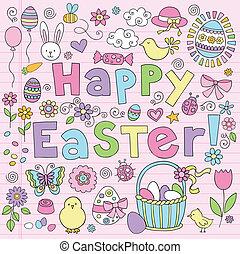 sæt, doodle, åg, vektor, bunny påske