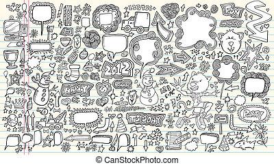sæt, doodle, illustration, vektor