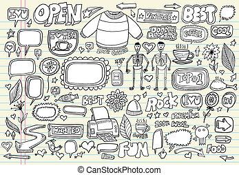 sæt, doodle, notesbog, vektor