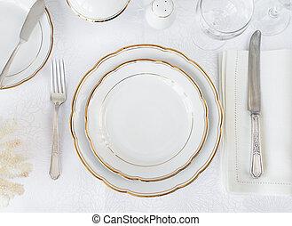 sæt, elegance, tabel
