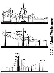sæt, elektriske, installationer