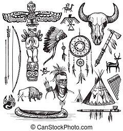 sæt, elements., vest, amerikansk indisk, formgiv, vild