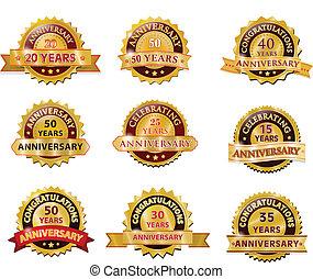 sæt, emblem, årsdag, guld