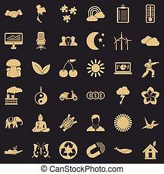 sæt, enkel, firmanavnet, harmoni, iconerne