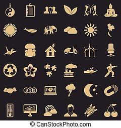 sæt, enkel, firmanavnet, måne, iconerne