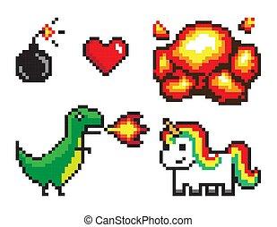 sæt, farverig, pixel, vektor, banner, illustrationer