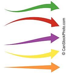 sæt, farverig, shapes., pile, 5, pil, længe, horisontale