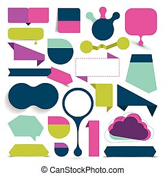 sæt, farverig, stor, omsætning, bobler, ribbons., stickers