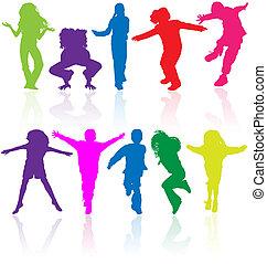 sæt, farvet, reflektion., silhuetter, vektor, aktiv, børn