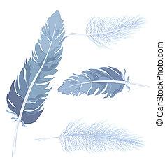 sæt, feather., vektor