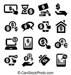sæt, finans, iconerne