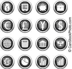 sæt, finansielle, ikon
