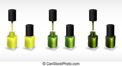 sæt, flasker, illustration, negl, realistiske, vektor, polish.