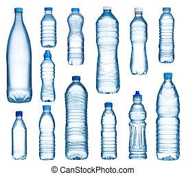 sæt, flasker, isoleret, plastik, vand, baggrund, hvid