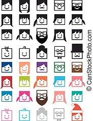 sæt, folk, avatars, vektor, bruger, ikon