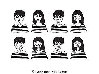 sæt, folk, emotions, adskillige, ansigter, cartoon