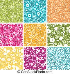sæt, forår, baggrunde, seamless, mønstre, ni, blomster
