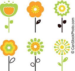 sæt, forår, /, elementer, retro, påske, blomst