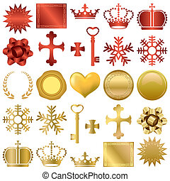 sæt formgiv, prydelser, guld, rød