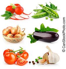 sæt, frisk grønsag, frugter, hos, grønnes forlader