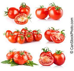 sæt, frisk, tomat, grønsager