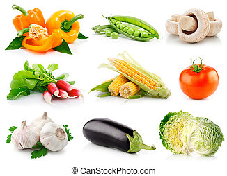 sæt, friske grønsager, hos, grønnes forlader, isoleret