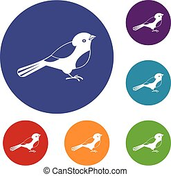 sæt, fugl, iconerne